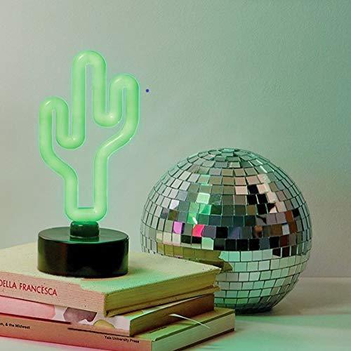 Merkury Innovations LED Neon Green Cactus Sign Night Light