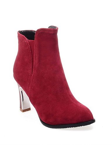 Botas A La Eu42 De Moda Eu39 us10 5 Sintético Zapatos Uk8 us8 5 Cn40 Uk6 Beige 5 Ante Vestido Tacón Negro Puntiagudos Cn43 5 Mujer Xzz Black Rojo Stiletto Red w8Yx5H00
