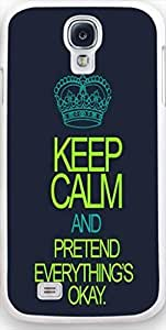 Galaxy s4 Case Dseason, Samsung Galaxy s4 Case New Slim Hard Unique Design Christian Quotes keep calm and pretend everything's okay WANGJING JINDA