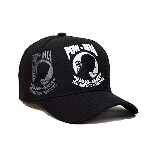 U.S. Military Official Licensed Embroidery Hat Army Navy Veteran Division Baseball Cap (Pow Mia You are not Forgotten- Black)