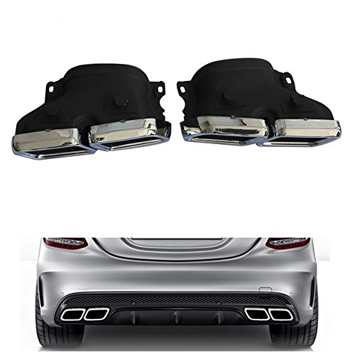 Car Exhaust Tip for Mercedes BENZ W205 C63 C Class Stainless Steel Muffler Pipe Dual Rear Tail Pipes - Rear Mufflers Mercedes Benz