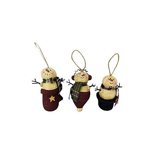 Craft Outlet 3 Piece Paper Mache Snowman Ornament Set, 3 by 5
