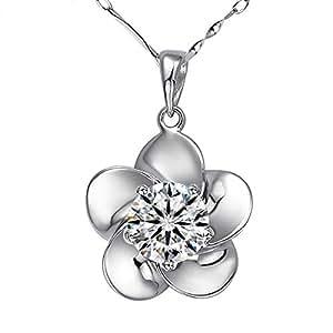 NIUWJ Lady Simple Fashion S925 Sterling Silver Bloom Plum Colgante De Cristal Ornamento Creativo Pétalo