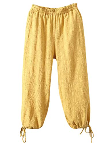 (Minibee Women's Linen Pants Lantern Tapered Cropped Pants Jacquard Trousers with Pockets Yellow)