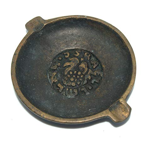 Ashtray Signed - Vintage Israel Judaica Bronze Small Round Ashtray Signed Nordia 1960's