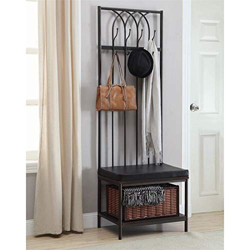 BOWERY HILL 4 Hook Hall Tree in Dark Walnut and Dark Bronze by BOWERY HILL
