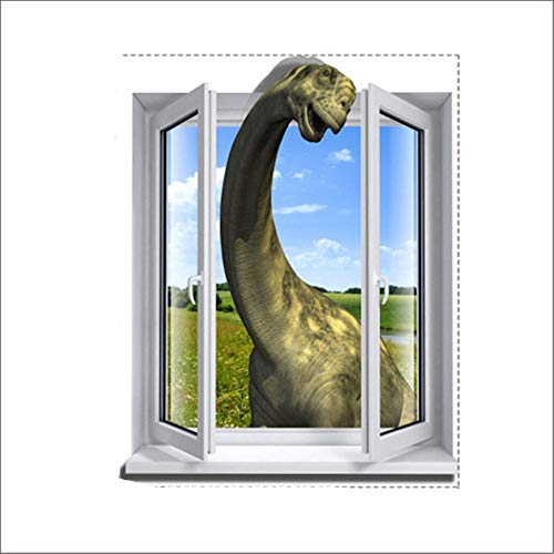 AdornHome-Sticker Wall Stickers Murals 3D Dinosaur into The Window Wallpaper Bedroom Living Room TV Sofa Background HD self-Adhesive Paper 58CM x 72.8CM