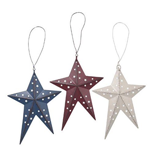 3-D Metal Folk Star - Red - White - Blue - 6 inches - Americana Patriotic Barn Wall Decor (3pc) ()