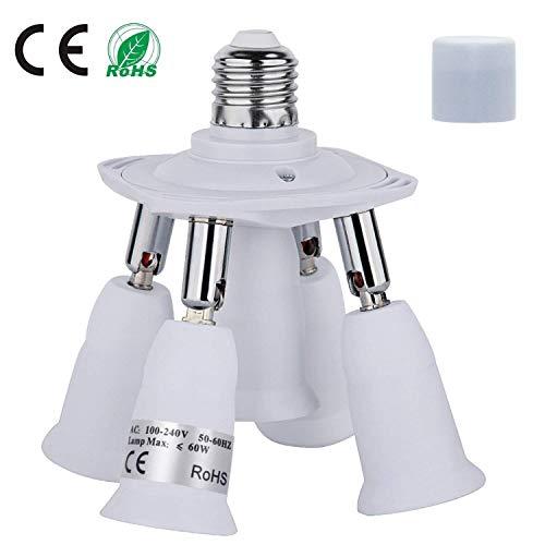 Lamp Light Bulb 1 60w (Light Socket Splitter, 5 In 1 Electric Spark Protection E26 E27 CFL Adapter Energy Saving Heat Resistance Light Bulb Socket Adapter 360 Degrees Adjustable 180 Degree Bendable Max Watt 300W)