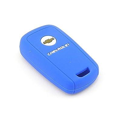 iSaddle Silicone Protecting Vehicle Remote Start Key Case Cover Fob Holder for Chevrolet Camaro Cruze Equinox Malibu Orlando Sonic (Dark Blue Color): Car Electronics