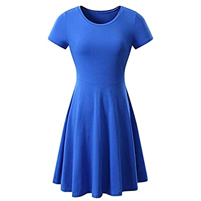 RAINED-Women Short Sleeve Mini Dress Round Neck Solid Color Summer Casual Flared Simple T-Shirt Loose Swing Dress