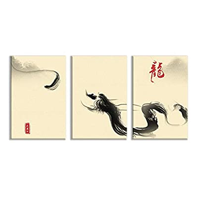 3 Plane Canvas Wall Art - Ink Painting Dragon Bedroom Poster - Modern Home Art Stretched and Framed Ready to Hang - 16