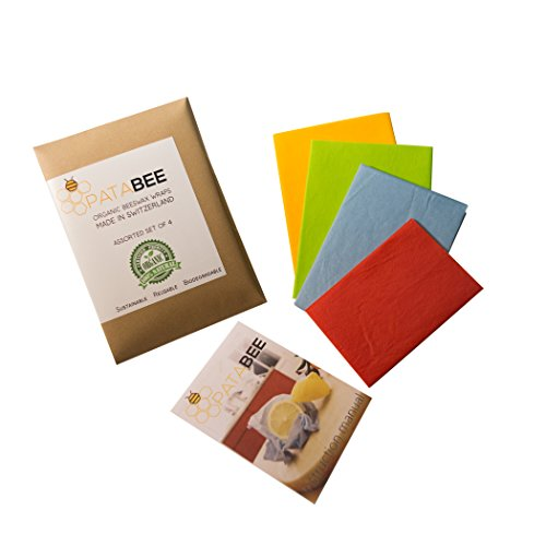 pataBee Organic Beeswax Wrap - Healthy Natural Food Storage Wraps - Made in Switzerland - Certified Non Toxic - Reusable Set of Different Sizes and Colors - Sustainable - Biodegradable - Zero Waste