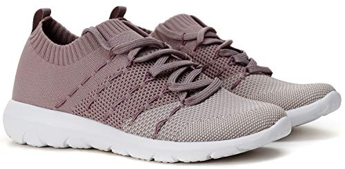 PromArder Womens Walking Shoes Slip On Athletic Running Sneakers Knit Mesh Comfortable Work Shoe