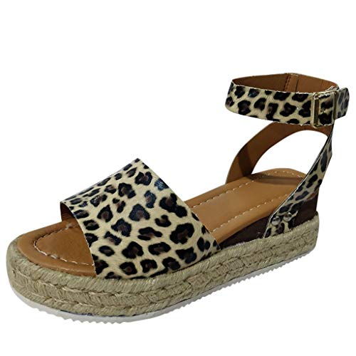 (Women Summer Sandals Buckle Strap Wedges Leopard Retro Peep Toe Sandals KIKOY)
