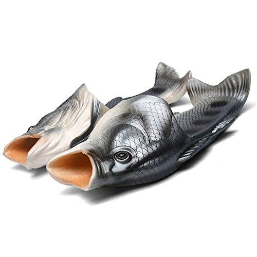 Zeeton Unisex Lustige Besondere Fisch Strand Schuhe Anti-Rutsch Hausschuhe Sandalen Dusche Slippers Kinder Jungen Mädchen Damen Herren Schwarz