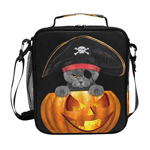 Lunch Bag Insulated Boxes Halloween Pirate Cat Cooler Lunch Handbags Organizer Containers Meal Prep with Shoulder Strap for Woman Man Boy Girl