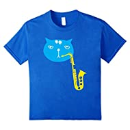 Cute Cat with Saxophone Graphic Tee for Sax & Feline Lovers