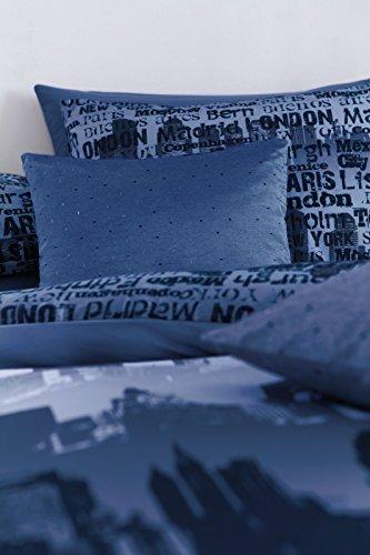 -[ Catherine Lansfield CityScape Double Duvet Set - Blue  ]-