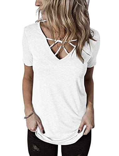 Knot Neckline Top - Akihoo Women's Short Sleeves Criss Cross Tops Casual V Neck Blouse Strappy Choker T Shirts 06#White M