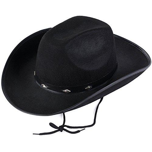 Funny Party Hats Cowboy Hat - Studded Cowboy Hat - Cowboy Costume Accessories - Western Cowboy Hat (Black Cowboy Hat) -