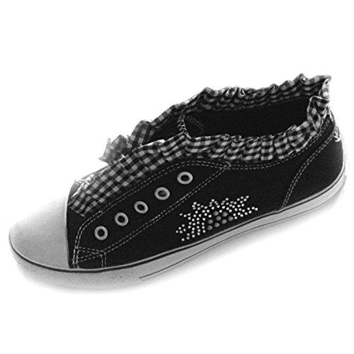 PantoffelDIVA, Damen Sneaker, Low Top, pfiffiger Trachtenschuh für Dirndl und Lederhose mit Edelweiß, Strass, Hirsch (40, Schwarz)