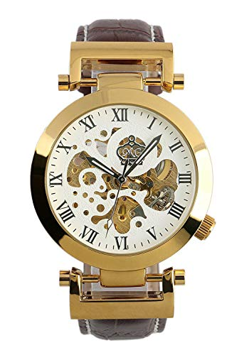 Carrie Hughes Men s Luxury Gold Automatic Mechanical Watch Stainless Steel Leather Strap CH270