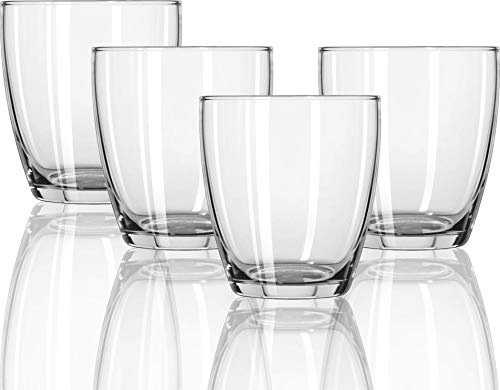 Circleware 44537 Smooth Whiskey, Set of 4, Kitchen Entertainment Dinnerware Drinking Glasses Glassware for Water, Juice, Beer and Bar Liquor Dining Decor Beverage Cups Gifts, 13 oz,