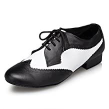 Aaron Mens Round Toe 1 Inch Heel Leather Lace Up Salsa Tango Ballroom Latin Jazz Modern Dance Shoes