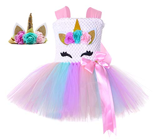 Tutu Dreams Unicorn Costume for Kids Girls Fancy Birthday Party Princess Dress (Pastel Pink, Large)]()