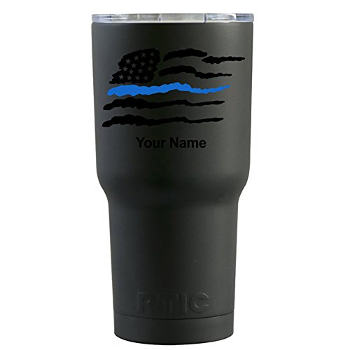 RTIC Police Thin Blue Line USA Flag on Black Matte 20 oz Stainless Steel Tumbler Cup