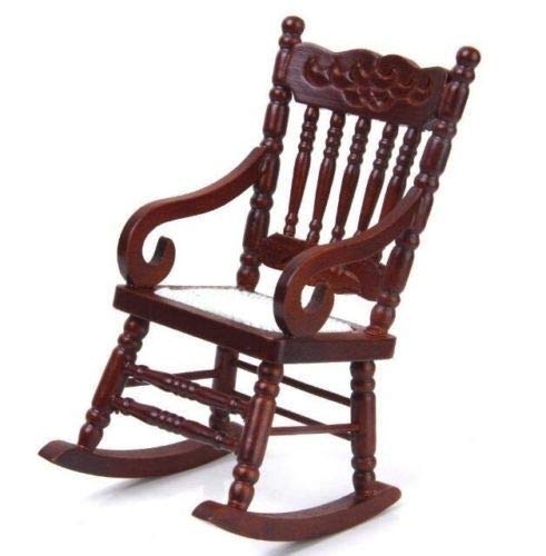 - 1:12 Dollhouse Miniature Doll Furniture Elegant Brown Wooden Rocking Chair Gift~