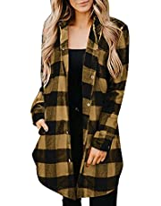 acction Womens Casual Plaid Shirts Lapel Long Sleeve Pockets Mid-Long Casual Boyfriend Shirts Coat