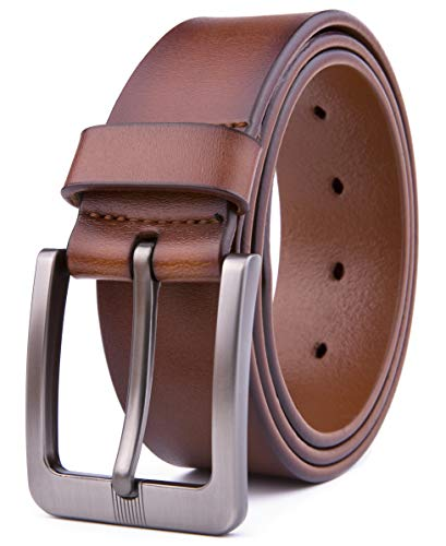 (Men Genuine Leather Belts, Fashion & Classic Design for Casual and Dress (34, Cognac)