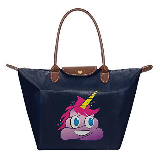 Taijian Unicorn Poop Emoji Convenient Folding Dumpling Bag Navy (Zip Classic Target Tote)