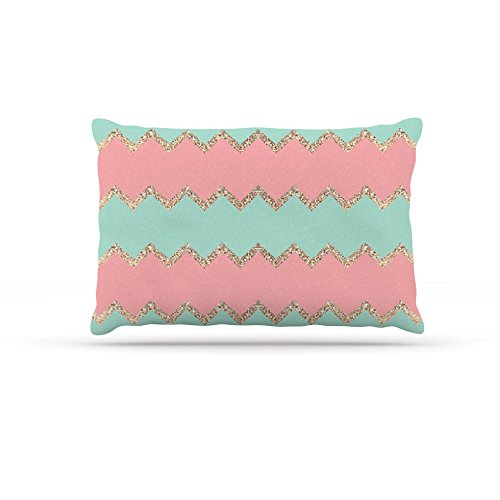 Kess InHouse Monika Strigel Avalon Soft Coral and Mint Chevron  Fleece Dog Bed, 50 by 60 , orange Green
