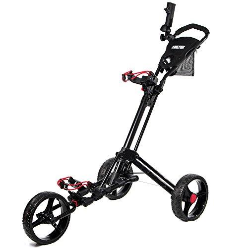 Biltek Premium 3-Wheel Golf Push Cart Trolley Black Umbrella Scorecard Holder