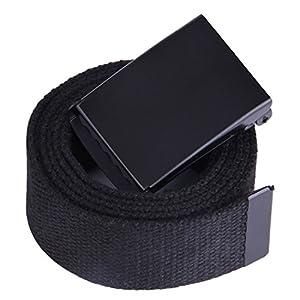 "JINIU Canvas Web Belt Military Style Black Buckle solid color 51"" Long 1.5"" wide CAB1 BLACK"