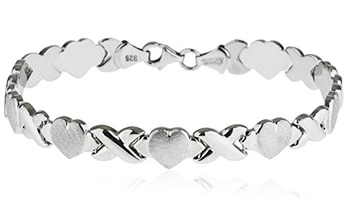 SilverLuxe Rhodium Plated 925 Sterling Silver Hugs and Kisses XOXO Bracelet