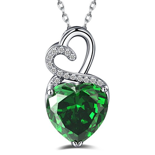 Caperci Valentines Day Gift Sterling Silver Heart Created Emerald Pendant Necklace for Women, 18'' (Emerald Heart Shaped Pendant)