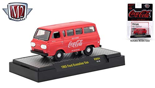 - M2 Machines 1965 Ford Econoline Van Limited Edition Coca-Cola Release RW04H - 2018 Castline Hobby Edition 1:64 Scale Die-Cast Vehicle & Display Case (RW04 18-40)