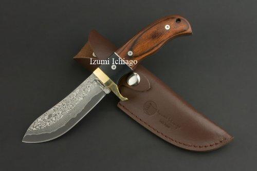 Damascus hunting knife Tsuchime 130 by Izumi Ichiago, Outdoor Stuffs