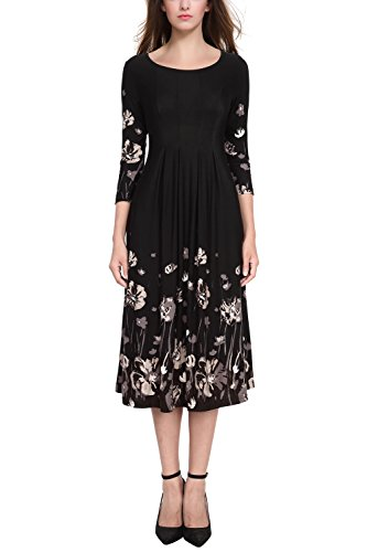 Sleeve Rayon Dress (BaiShengGT Women's 3/4 Sleeves Pleated Front Pockets Flared Midi Dress Medium Black Floral-2)