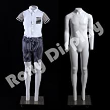 (MZ-GHK12) ROXYDISPLAY™ Invisible Ghost Mannequin! Removable neck and Arms. Headless 12 yrs. child. Standing Pose. Base included.