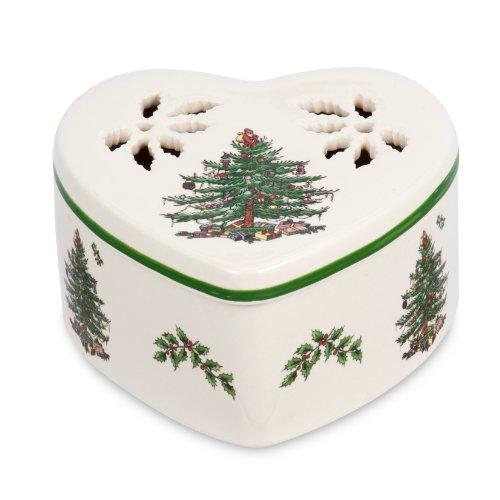 Spode Christmas Tree Pierced Heart Trinket Box