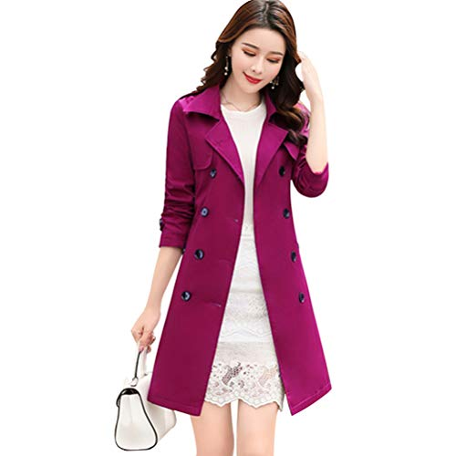 Women Slim Fit Lapel Mid-Length Trench Coat Jacket Double Breasted Outwear with Belt S-5XL Purple -
