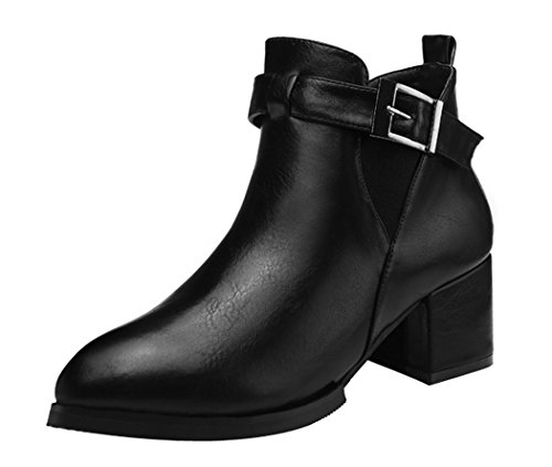 WUXING Christmas Women's Europe And America Casual Rough Heels Buckle Boot(5.5 B(M)US,black)