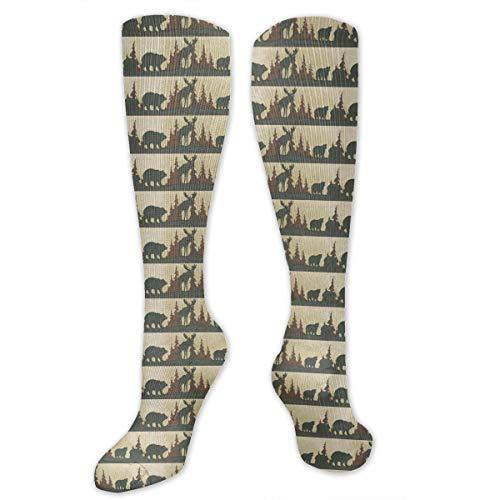 Compression Socks Moose Bear Soccer Sports Knee High Tube Socks For Women And Men