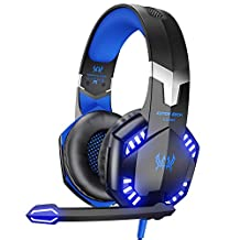 VersionTECH Gaming Headset for PS4 Xbox One, G2000 Over Ear Gaming Headphones with Mic, Stereo Bass Surround, Noise Reduction, LED Lights and Volume Control for Laptop, PC, iPad,Nintendo Switch, Smartphones