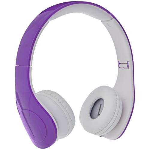 Amazon Basics Volume Limited Wired Over-Ear Headphones for Kids with Two Ports for Sharing, Purple